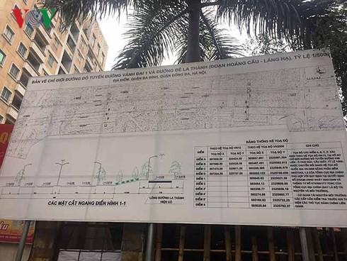 Quy hoach chi tiet các con phố vành đai 1 và Đê La Thành được mở bán cho người dân.