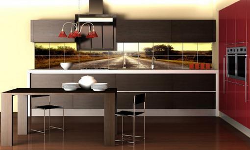 Không gian nhà bếp cũng cần trang trí để bức tường không trống rỗng, đồng thời tạo sự sang trọng, cảm giác ngon miệng cho 1 số thành viên trong gia đình.