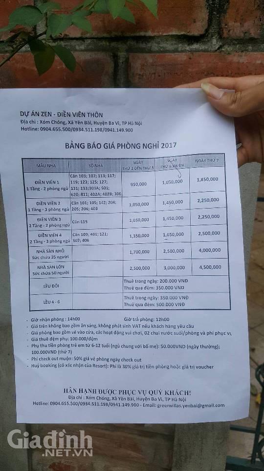 Bảng báo giá phòng từ 950 nghìn đồng đến 4,5 triệu/phòng tại Điền Viên Thôn.