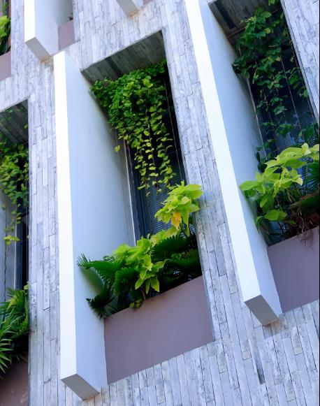 """Trên các tầng, toàn bộ khu vực mặt tiền được tận dụng để trồng cây xanh và cây dây leo tạo nên một """"tấm rèm xanh"""" lý tưởng để ngăn tiếng ồn và khói bụi vào nhà."""
