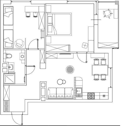 Sơ đồ bố trí không gian căn hộ.