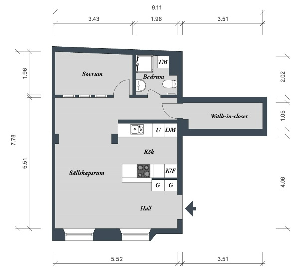 Sơ đồ bố trí không gian toàn bộ căn hộ.