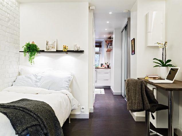 Căn hộ được chia làm hai khu vực chính riêng biệt với một bên là nơi tiếp khách, nơi nghỉ ngơi, góc làm việc, khu vực ăn uống; một bên là bếp, nhà vệ sinh, phòng tắm, tủ đựng đồ.