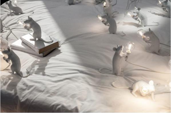 Còn đấy là những chú chuột màu trắng cực dễ thương. Chúng được làm bằng nhựa có nhiều tư thế ngồi, đứng, nằm để khách hàng đặt ở những địa điểm thích hợp trong phòng.