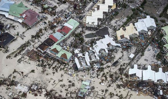 Hàng cây cọ ven biển nằm rạp xuống vì sức gió quá mạnh của siêu bão Irma. Ảnh: EPA