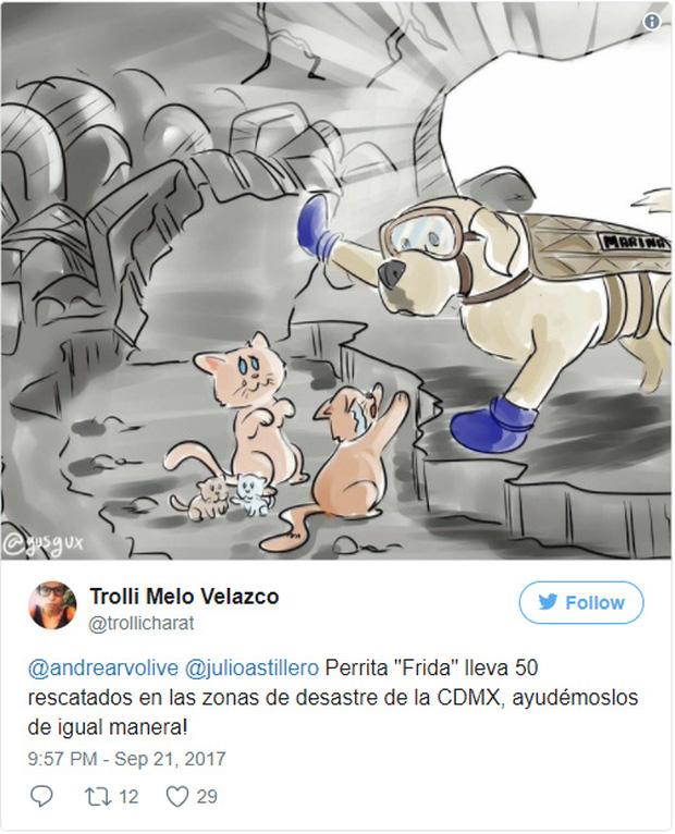 Một số cư dân mạng còn thể hiện tình yêu và sự cảm kích bằng cách khắc họa lại cô chó Frida dưới dạng hoạt hình.