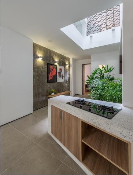 Khu bếp ăn thoáng sáng được thiết kế đơn giản cạnh bồn cây xanh mát.