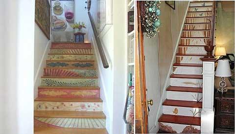 Vẽ tranh lên mỗi bậc cầu thang cũng là gợi ý hoàn hảo. Một bức tranh đẹp sẽ giúp không gian nhà khách mua thêm duyên dáng và bắt mắt hơn.