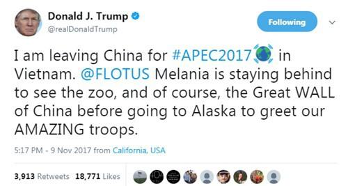 Tổng thống Donald Trump thông báo đang đến Việt Nam. Ảnh: Twitter