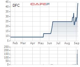 Diễn biến giá cổ phiếu DFC từ ngày lên sàn.