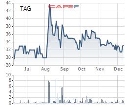 Diễn biến giá cổ phiếu TAG trong 6 tháng gần đây.