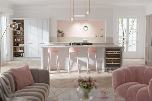 Phòng bếp ấm cúng với gam màu hồng - Ảnh 4.