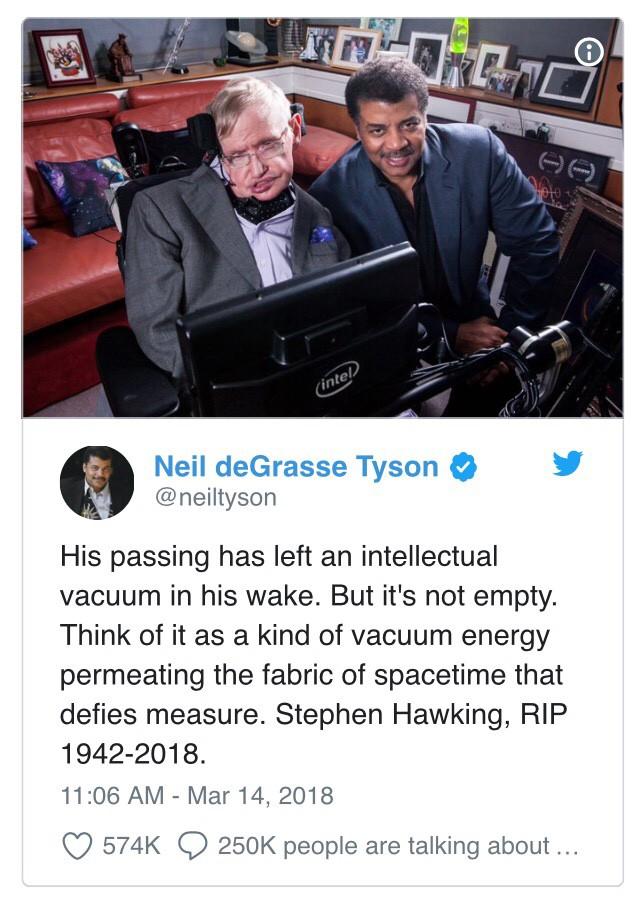 """Đây là cách """"cả thế giới"""" thể hiện niềm thương tiếc trước sự ra đi của nhà bác học vĩ đại Stephen Hawking - Ảnh 1."""