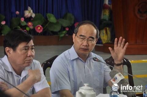 Bí thư Thành ủy Nguyễn Thiện Nhân chủ trì họp báo về vụ cháy chung cư Carina - Ảnh 1.