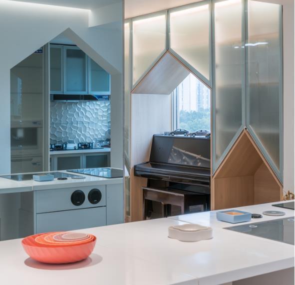 Thiết kế phá cách, ấn tượng của căn hộ cao tầng hơn 100m2 cho gia đình có con nhỏ - Ảnh 11.
