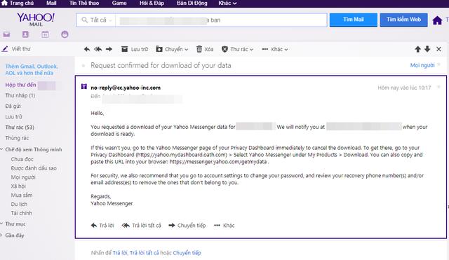 Hướng dẫn cách tải toàn bộ dữ liệu Yahoo Messenger về làm kỉ niệm trước khi bị đóng cửa hoàn toàn - Ảnh 3.