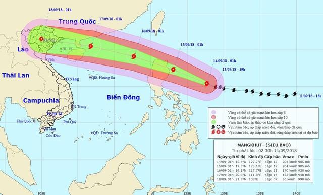 Hai kịch bản đổ bộ của Siêu bão Mangkhut - Ảnh 1.