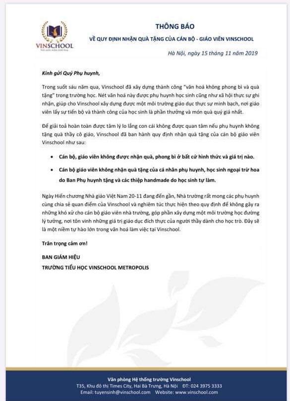 Vinschool thông báo nóng trước ngày 20/11: Cán bộ, giáo viên không được nhận bất kỳ quà, phong bì từ học sinh, phụ huynh... trừ hoa và đồ handmade - Ảnh 1.