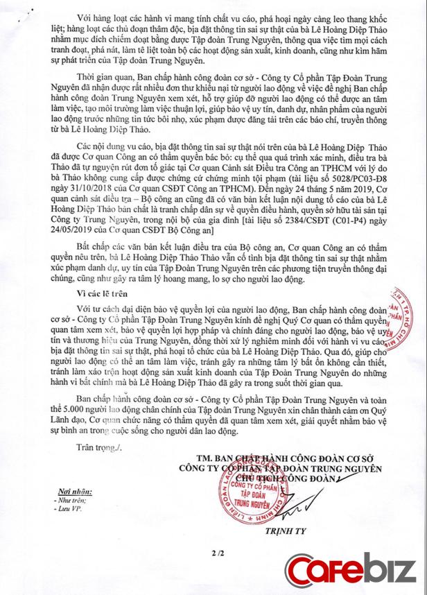 """5.000 nhân viên Trung Nguyên viết tâm thư tố cáo bà Lê Hoàng Diệp Thảo """"bịa đặt, phá hoại bằng thủ đoạn thâm độc"""", làm tê liệt toàn bộ hoạt động sản xuất kinh doanh cũng như kìm hãm sự phát triển của Tập đoàn - Ảnh 2."""