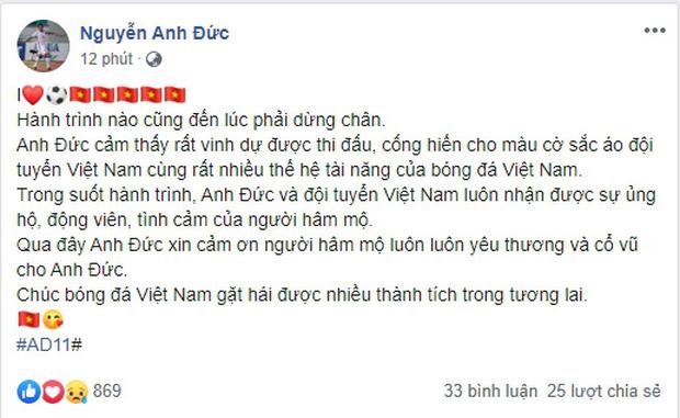"""""""Tỷ phú"""" Anh Đức úp mở khả năng chia tay đội tuyển Việt Nam sau dòng trạng thái ẩn ý - Ảnh 1."""
