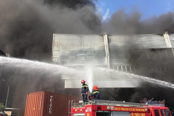 Cháy lớn ở Bình Dương, cột khói đen bốc cao hàng trăm mét - Ảnh 3.