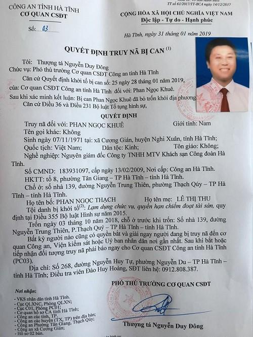 Truy nã Giám đốc khách sạn Công Đoàn Hà Tĩnh - Ảnh 1.