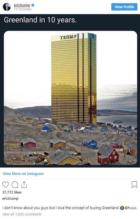 Đăng tấm hình tòa tháp vàng siêu to khổng lồ ở Greenland, ông Trump lại gây bất ngờ với lời hứa mới - Ảnh 2.