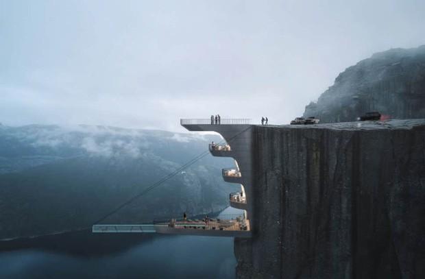 """Sốc: Na Uy """"nhá hàng"""" khách sạn nằm cheo leo trên vách đá cao hơn 600m, cư dân mạng tự hỏi """"ai mà dám ở""""? - Ảnh 1."""