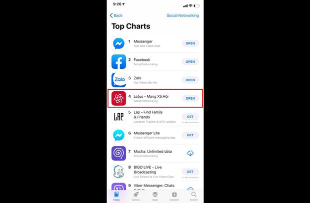 Lotus lọt Top 4 ứng dụng AppStore về mạng xã hội tại Việt Nam - Ảnh 1.