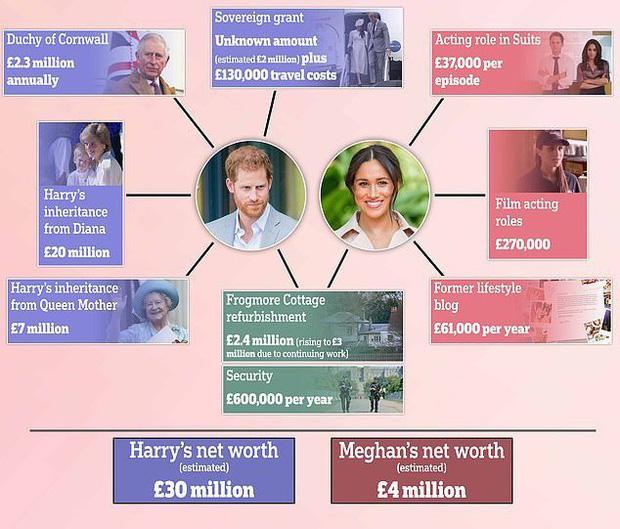 Vợ chồng Hoàng tử Harry và Meghan Markle sở hữu tổng tài sản lên tới trên 1 nghìn tỷ đồng, số tiền đó ở đâu mà ra? - Ảnh 4.