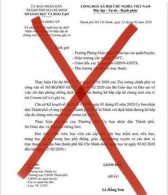 TPHCM: Lan truyền văn bản giả mạo của Sở GD-ĐT TPHCM về thời gian học sinh đi học trở lại  - Ảnh 1.