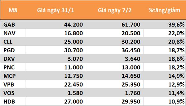 10 cổ phiếu tăng/giảm mạnh nhất tuần: Ấn tượng nhóm ngân hàng - Ảnh 1.