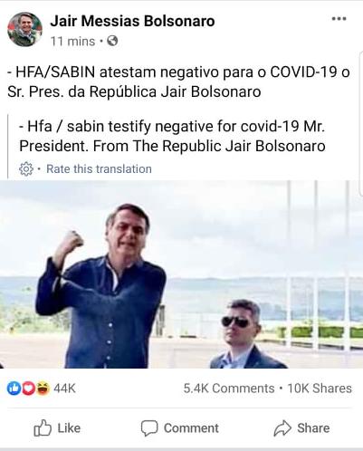 TT Brazil Bolsonaro chính thức phủ nhận dương tính với virus corona chủng mới - Ảnh 1.