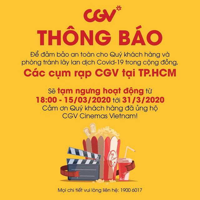 CGV đóng cửa toàn bộ cụm rạp trong TP.HCM để phòng dịch COVID-19 - Ảnh 1.