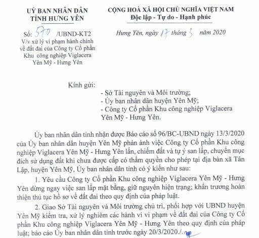 Hưng Yên tuýt còi dự án khu công nghiệp của Viglacera - Ảnh 1.