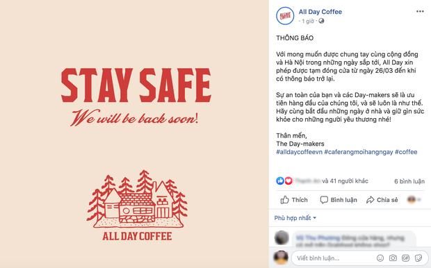 Hưởng ứng lời kêu gọi, hàng loạt quán cafe ở Hà Nội thông báo tạm dừng hoạt động, một số chuyển sang bán online - Ảnh 3.