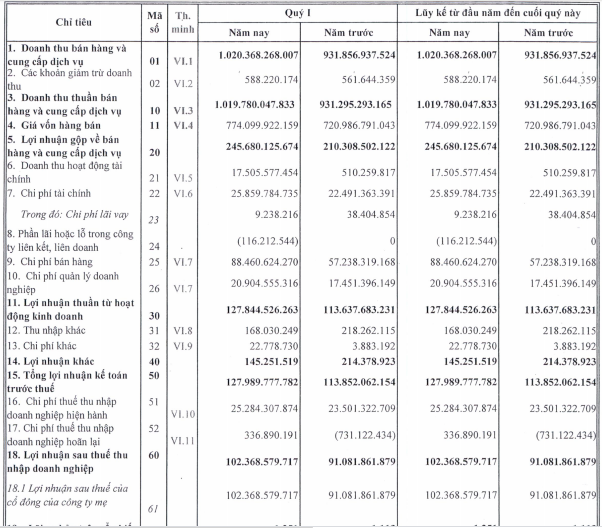 Nhựa Bình Minh (BMP) báo lãi 102 tỷ đồng quý 1, tăng hơn 12% so với cùng kỳ - Ảnh 1.