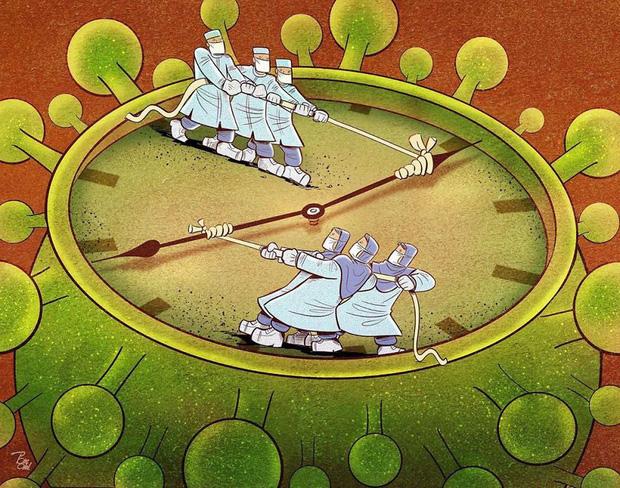 Bộ tranh ấn tượng về những người tuyến đầu chống Covid-19: Dù virus là kẻ thù vô hình nhưng cuộc chiến vẫn quá tàn nhẫn và có nhiều sự hy sinh! - Ảnh 11.