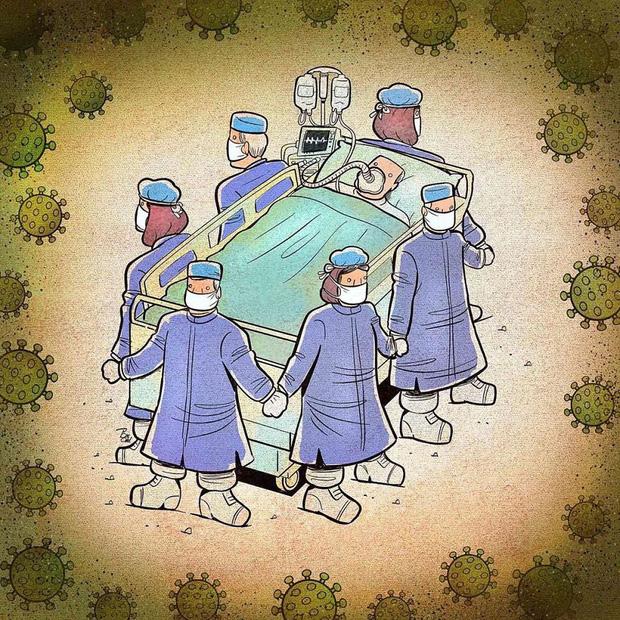 Bộ tranh ấn tượng về những người tuyến đầu chống Covid-19: Dù virus là kẻ thù vô hình nhưng cuộc chiến vẫn quá tàn nhẫn và có nhiều sự hy sinh! - Ảnh 4.