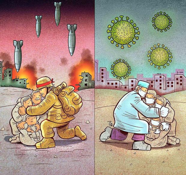 Bộ tranh ấn tượng về những người tuyến đầu chống Covid-19: Dù virus là kẻ thù vô hình nhưng cuộc chiến vẫn quá tàn nhẫn và có nhiều sự hy sinh! - Ảnh 9.