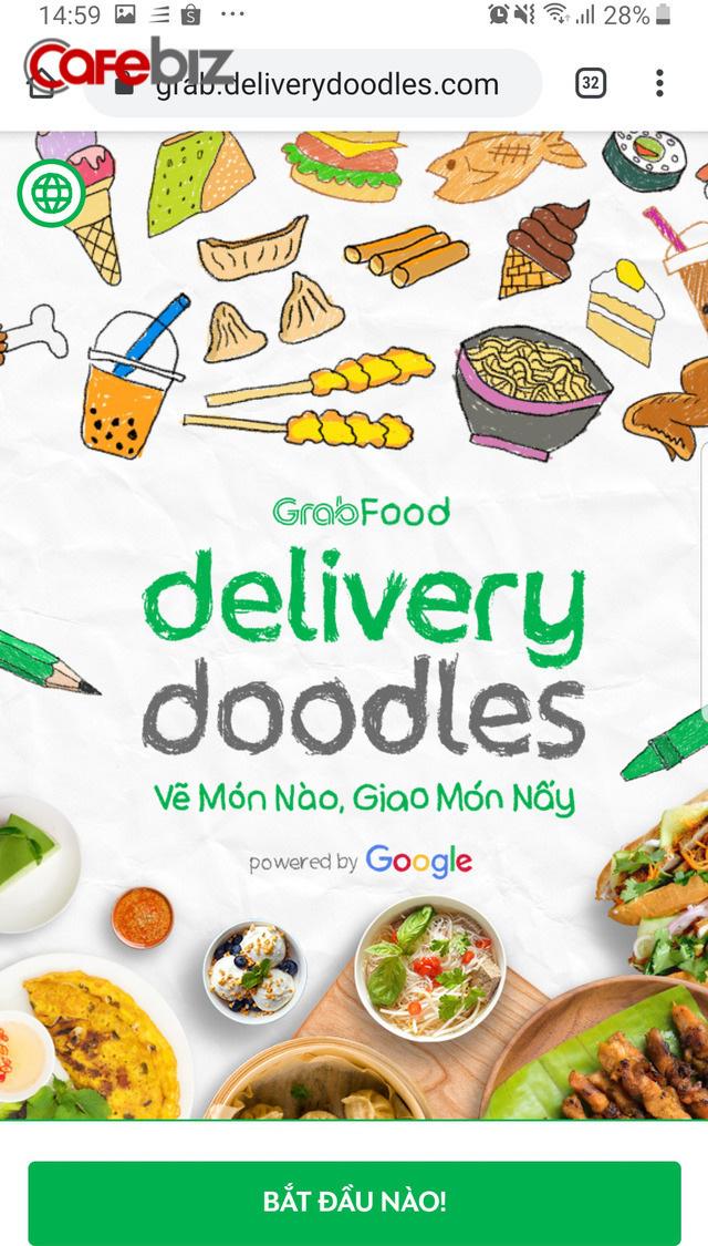 """Cú bắt tay của Grab và Google: Con vẽ đồ ăn bằng Doodle, GrabFood """"biến"""" thành món nóng sốt  - Ảnh 1."""