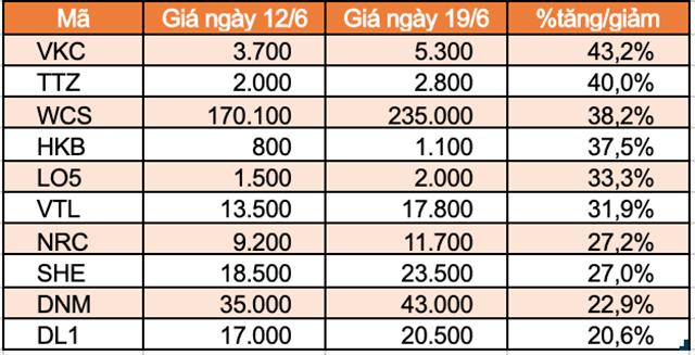 Top 10 cổ phiếu tăng/giảm mạnh nhất tuần: TNI trọn tuần giảm sàn - Ảnh 2.