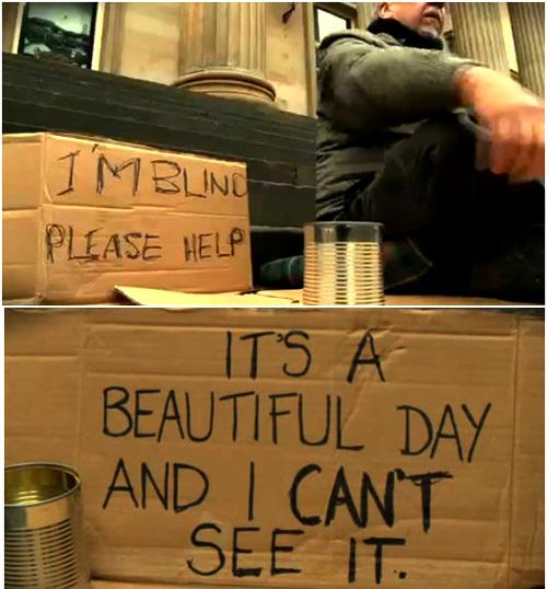 Chỉ viết 1 câu lên tấm biển, cô gái giúp lão ăn mày xin được đầy hộp tiền - Ảnh 2.