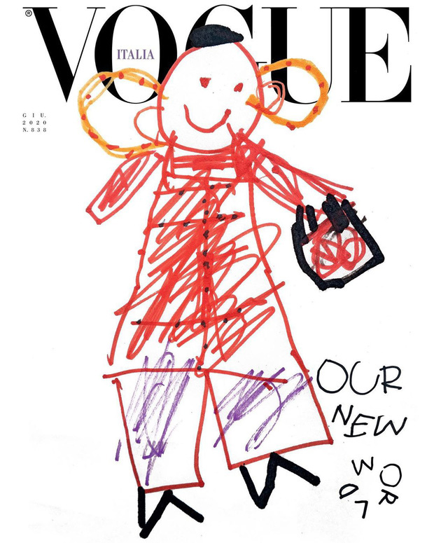Nối gót Gucci, Vogue Ý cũng post ảnh bìa được vẽ nguệch ngoạc nhưng ý nghĩa đằng sau lại thật ấm lòng - Ảnh 1.