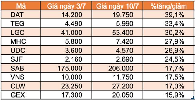 Top 10 cổ phiếu tăng/giảm mạnh nhất tuần: Sabeco và Gelex tạo bất ngờ - Ảnh 1.