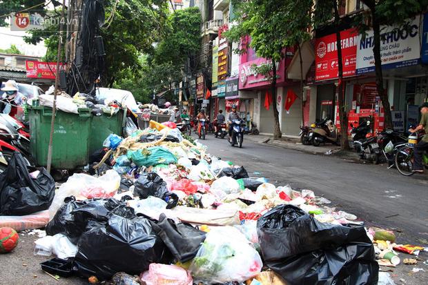 Hà Nội: Rác chất thành đống tràn ra khắp đường phố, nhiều người phải di tản vì phát ốm với mùi hôi thối - Ảnh 1.