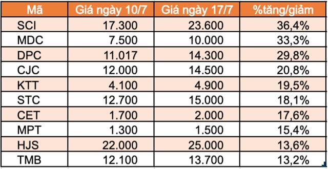 Top 10 cổ phiếu tăng/giảm mạnh nhất tuần: Nhóm Midcap hút dòng tiền - Ảnh 2.
