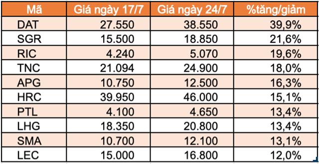 Top 10 cổ phiếu tăng/giảm mạnh nhất tuần: Nhóm midcap và penny bị bán mạnh - Ảnh 4.