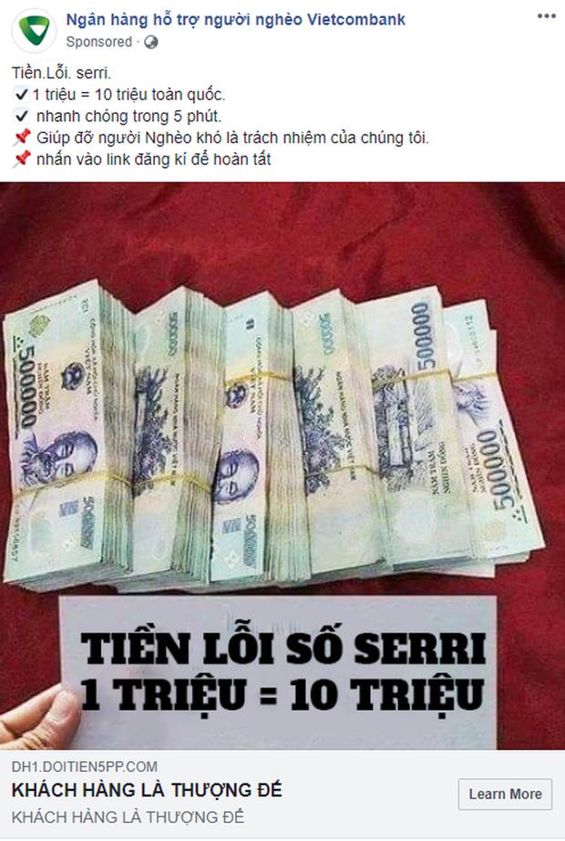 Xuất hiện fanpage Ngân hàng hỗ trợ người nghèo nhận đổi 1 triệu lấy 10 triệu, chạy quảng cáo rầm rộ trên Facebook: Cẩn thận tiền mất tật mang! - Ảnh 1.