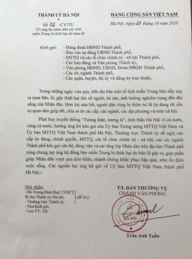 Hà Nội kêu gọi chung tay ủng hộ đồng bào vùng lũ miền Trung - Ảnh 1.